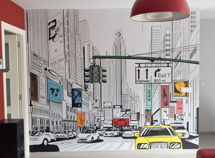 Decoración interior con paisaje urbano de Nueva York.